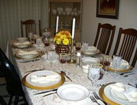 The extra Christmas table place setting